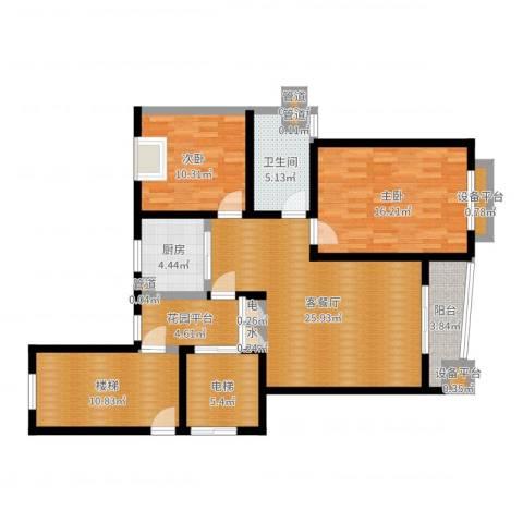 太平宝邸2室2厅1卫1厨111.00㎡户型图