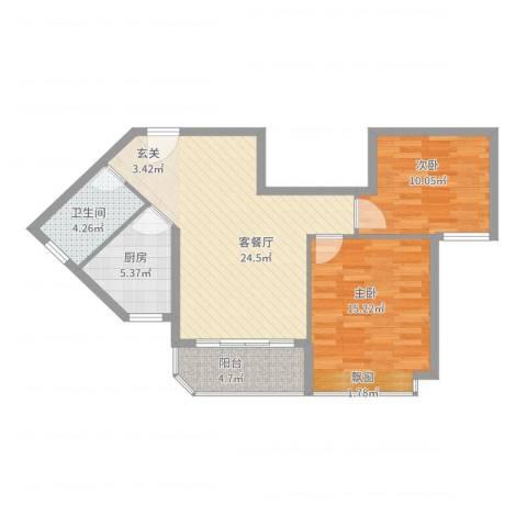 恒大金碧天下2室2厅1卫1厨90.00㎡户型图