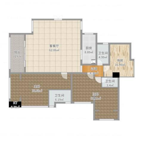 依云上城3室2厅4卫1厨229.00㎡户型图