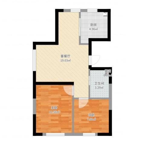 锦城邻里2室2厅1卫1厨58.00㎡户型图