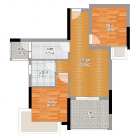 宇丰名苑2室2厅1卫1厨68.00㎡户型图