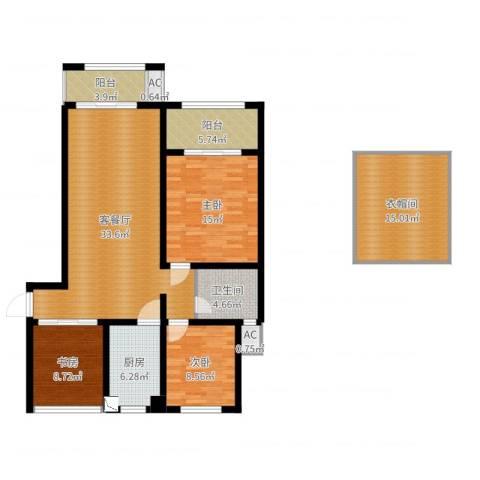 景栊湾2-11033室2厅1卫1厨129.00㎡户型图