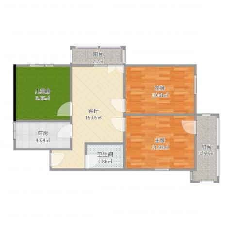 西坝河北里3室1厅1卫1厨77.00㎡户型图