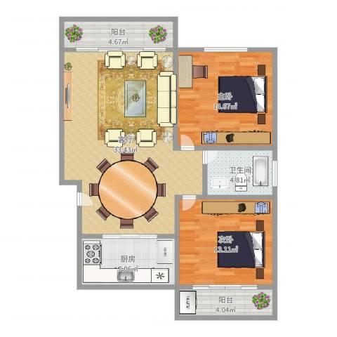 国贸新城2室1厅1卫1厨102.00㎡户型图