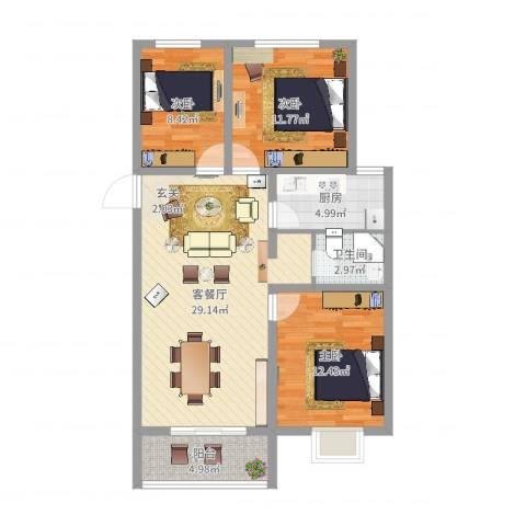 宣府第一城3室2厅1卫1厨93.00㎡户型图