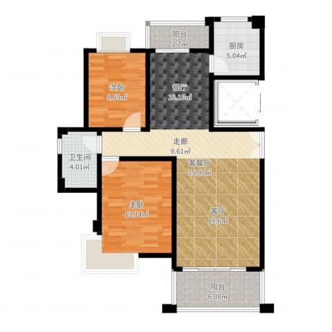 联泰香域滨江2室2厅1卫1厨94.00㎡户型图