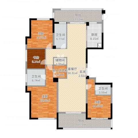 绿城玫瑰园4室2厅3卫1厨211.00㎡户型图