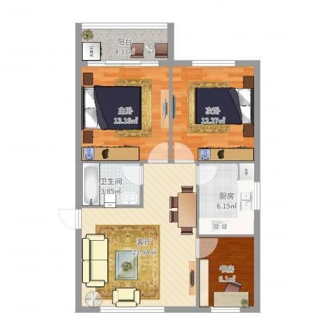 中河丽园3室1厅1卫1厨85.00㎡户型图