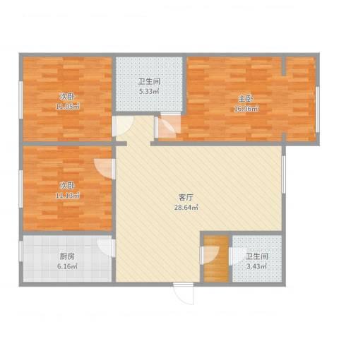 亲亲我家别墅3室1厅2卫1厨105.00㎡户型图
