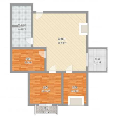 教授花园3室2厅1卫1厨106.00㎡户型图