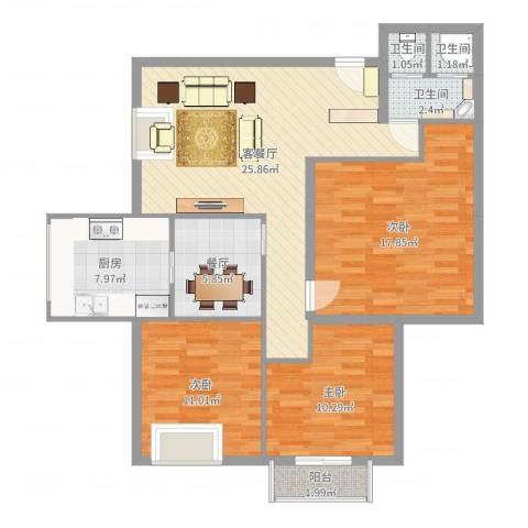 教授花园3室3厅3卫1厨107.00㎡户型图