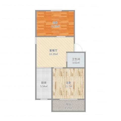 菊花小区2室2厅1卫1厨60.00㎡户型图
