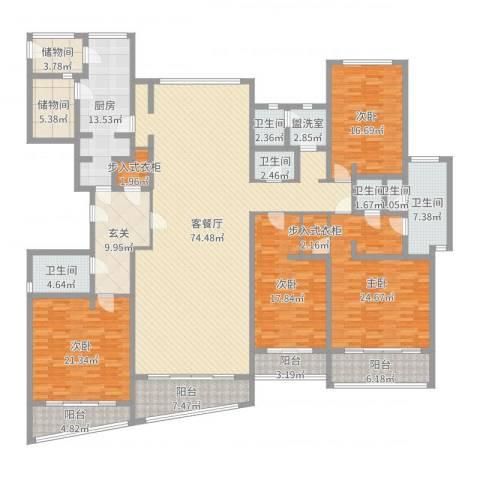 裕沁庭4室4厅6卫1厨295.00㎡户型图