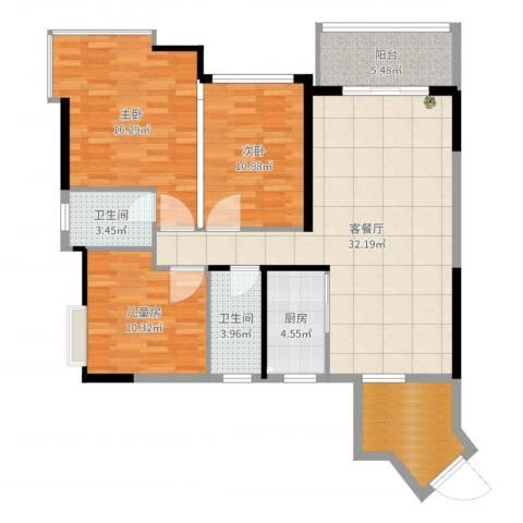 凯旋名门花园3室2厅2卫1厨116.00㎡户型图