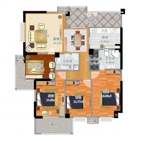 衣锦华庭3期4室2厅2卫1厨158.00㎡户型图