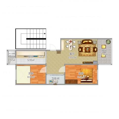 千禧・幸福城2室1厅1卫1厨67.00㎡户型图
