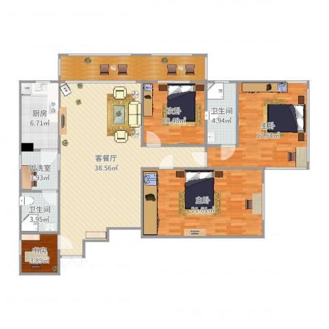 佳安公寓14室4厅3卫1厨152.00㎡户型图