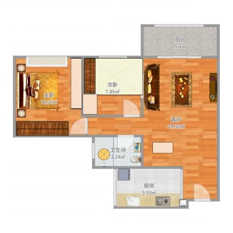 中澳世纪城2室1厅1卫1厨74.00㎡户型图