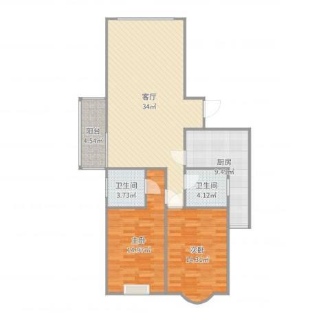 汇翠花园32室1厅2卫1厨106.00㎡户型图