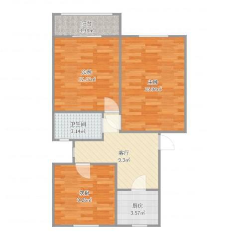 汇成四村3室1厅1卫1厨70.00㎡户型图