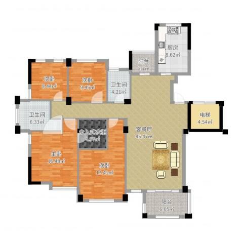 翡翠城丁香苑4室3厅2卫1厨168.00㎡户型图