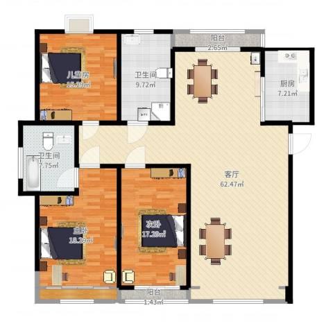 香山花园3室1厅3卫1厨180.00㎡户型图