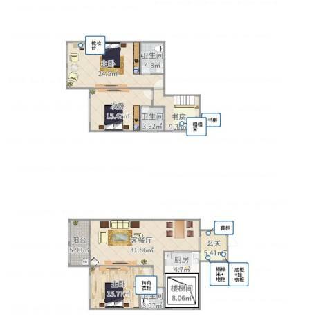 德城新世界4室2厅3卫1厨132.58㎡户型图