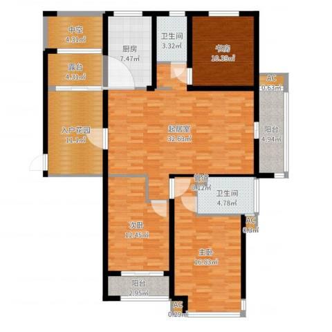 丽景华庭3室1厅6卫2厨146.00㎡户型图