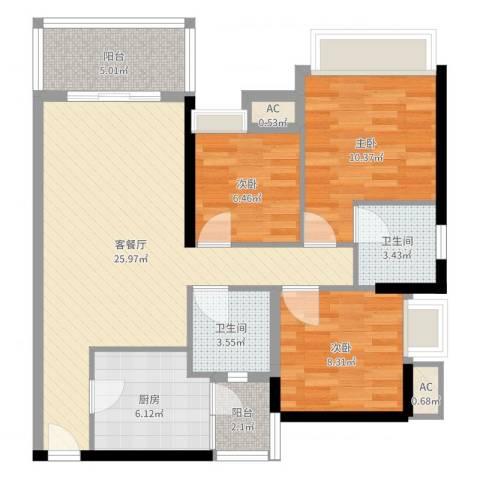 礼顿・金御海湾3室2厅2卫1厨91.00㎡户型图