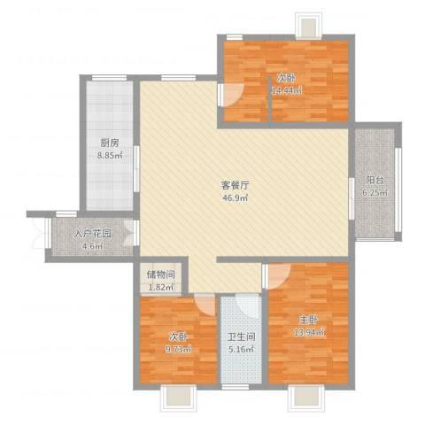 金吉华冠苑3室2厅2卫1厨140.00㎡户型图