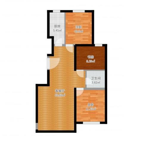 东城景苑3室2厅1卫1厨91.00㎡户型图