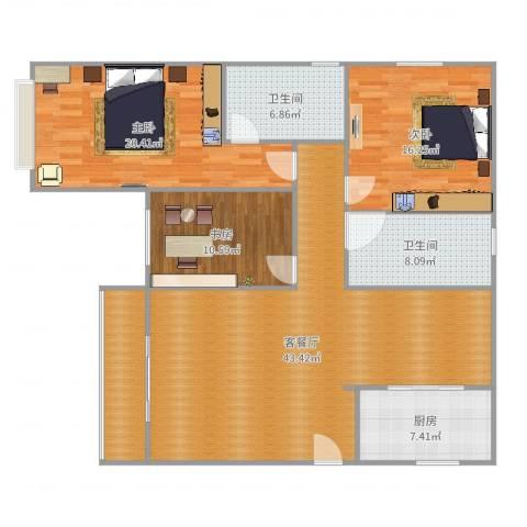 沪佳第一届设计大赛沪佳闸北店C户型3室2厅2卫1厨148.00㎡户型图