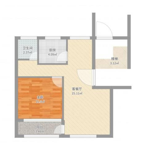 青浦珠光苑1室2厅1卫1厨58.00㎡户型图