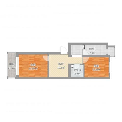 青塔蔚园小区2室1厅1卫1厨57.00㎡户型图