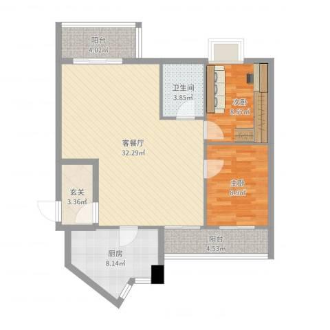 荔湖明苑2室2厅1卫1厨92.00㎡户型图