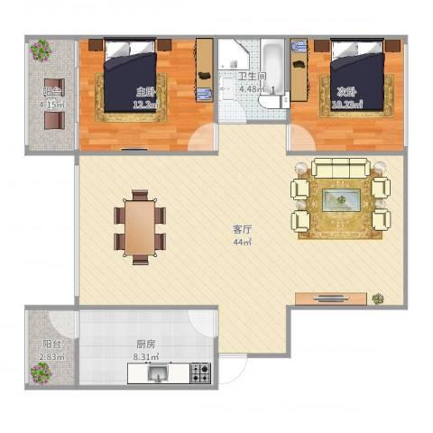 中大君悦金沙三期B12室1厅1卫1厨108.00㎡户型图