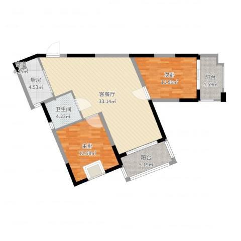 众兴华庭2室2厅1卫1厨95.00㎡户型图