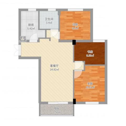 金都九月洋房朗轩3室2厅1卫1厨79.00㎡户型图