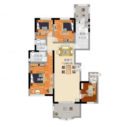 碧桂园凤凰城4室2厅2卫1厨165.00㎡户型图