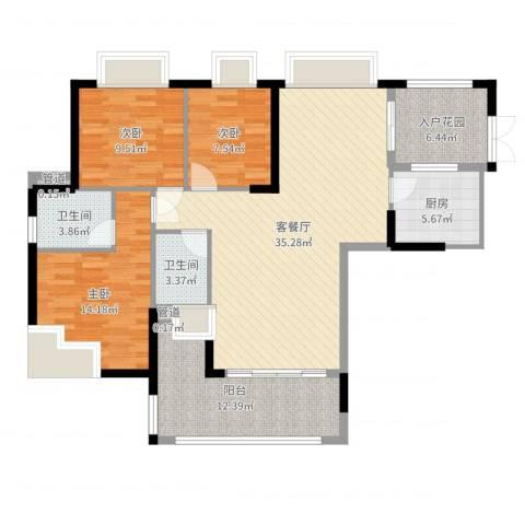 星际豪庭3室2厅2卫1厨123.00㎡户型图