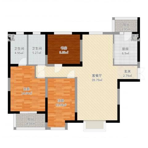 名门华都3室2厅2卫1厨127.00㎡户型图