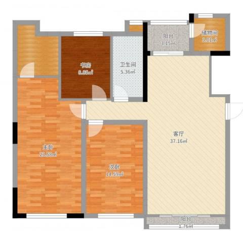 曲江南苑3室1厅2卫1厨129.00㎡户型图