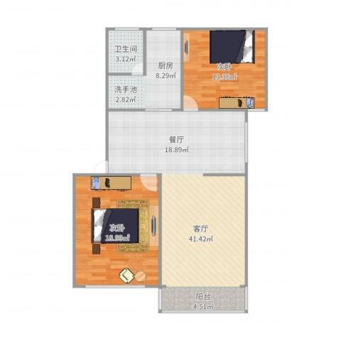 金桥四街坊2室1厅1卫1厨106.00㎡户型图