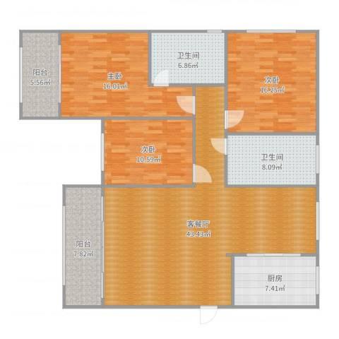 沪佳第一届设计大赛沪佳闸北店C户型3室2厅2卫1厨153.00㎡户型图