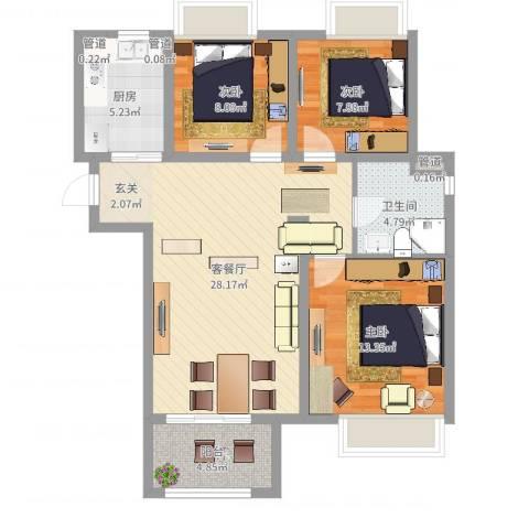 清华世界城3室2厅4卫1厨91.00㎡户型图