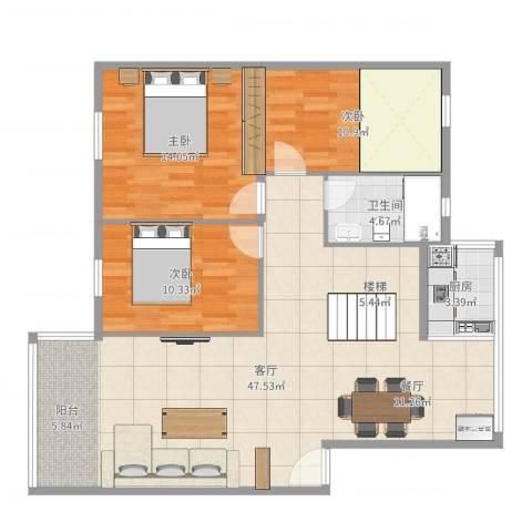 银和怡海花园3室1厅1卫1厨103.00㎡户型图