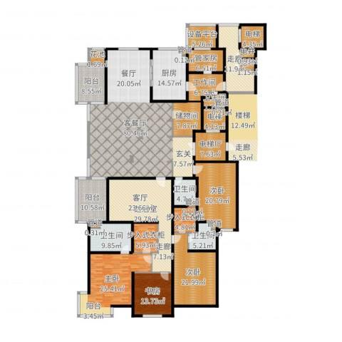 大华清水湾花园三期华府樟园4室2厅4卫1厨397.00㎡户型图