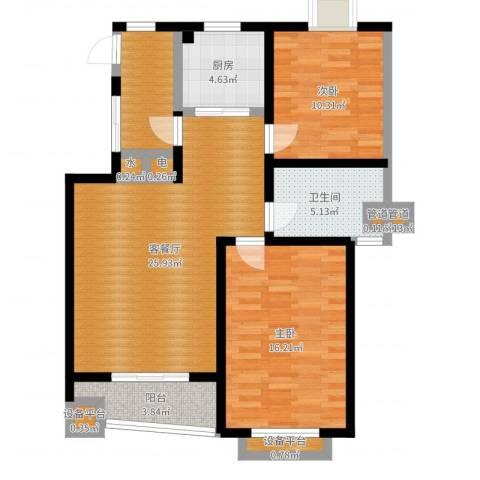 太平宝邸2室2厅1卫1厨91.00㎡户型图