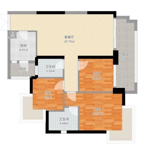 星际豪庭3室2厅2卫1厨103.00㎡户型图