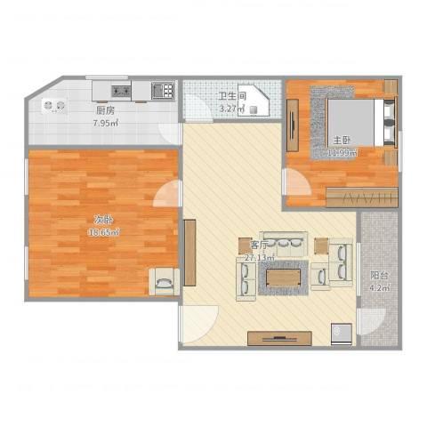 金侨花园2室1厅1卫1厨91.00㎡户型图